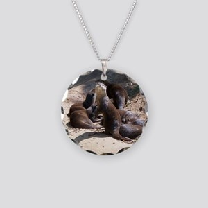 otters5 Necklace Circle Charm