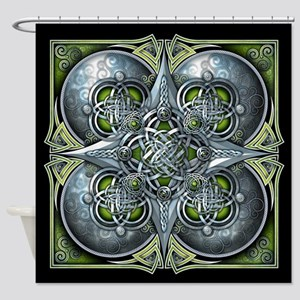 Silver & Green Celtic Tapestry Shower Curtain