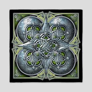 Silver & Green Celtic Tapestry Queen Duvet