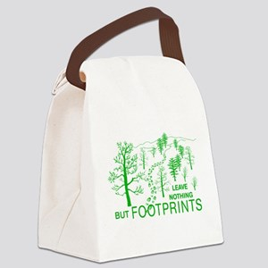 Leave Nothing but Footprints Green Canvas Lunch Ba