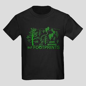 Leave Nothing but Footprints Green Kids Dark T-Shi