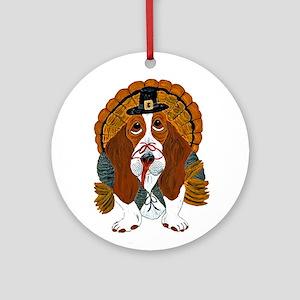 Basset Hound Thanksgiving Turkey Ornament (Round)