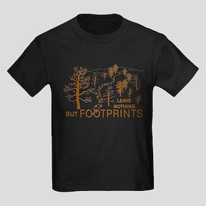 Leave Nothing but Footprints Brown Kids Dark T-Shi