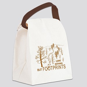 Leave Nothing but Footprints Brown Canvas Lunch Ba