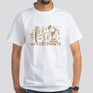 Leave Nothing but Footprints Brown White T-Shirt