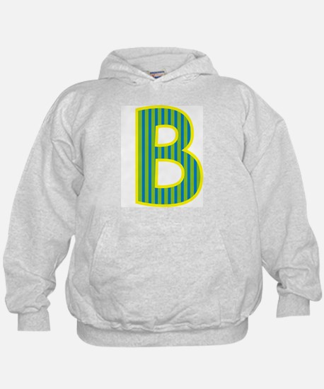 Initial B with Blue/Green Stripes Hoodie