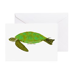 Green Sea Turtle Greeting Cards (Pk of 10)