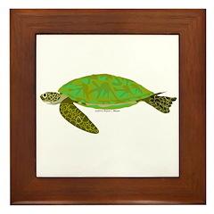 Green Sea Turtle Framed Tile