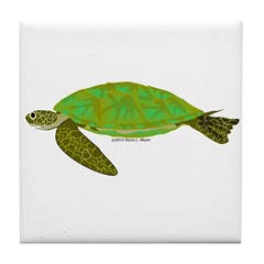 Green Sea Turtle Tile Coaster