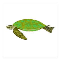 Green Sea Turtle Square Car Magnet 3
