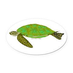 Green Sea Turtle Oval Car Magnet