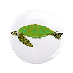 """Green Sea Turtle 3.5"""" Button"""