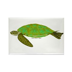 Green Sea Turtle Rectangle Magnet (10 pack)