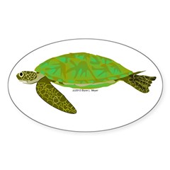 Green Sea Turtle Sticker (Oval 50 pk)