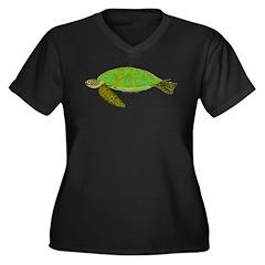 Green Sea Turtle Women's Plus Size V-Neck Dark T-S