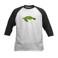Green Sea Turtle Kids Baseball Jersey