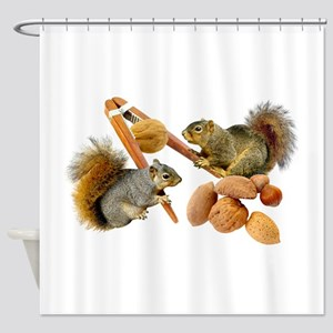Squirrels Cracking Nuts Shower Curtain