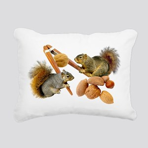 Squirrels Cracking Nuts Rectangular Canvas Pillow