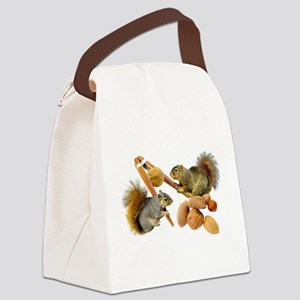 Squirrels Cracking Nuts Canvas Lunch Bag