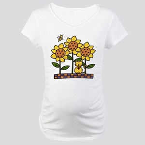 Cat In Sunflowers Maternity T-Shirt