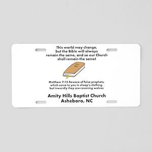 Amity HIlls Baptist church Aluminum License Plate