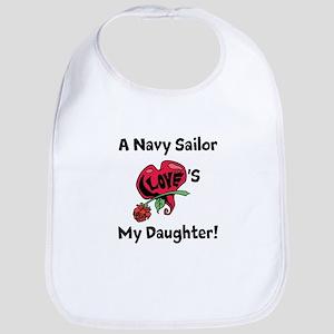 A navy Sailor Loves my Daughter Bib