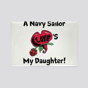 A navy Sailor Loves my Daughter Rectangle Magnet