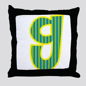 Initial G with Blue/Green Stripes Throw Pillow