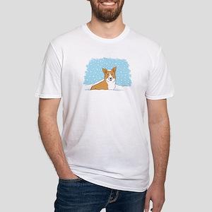 Happy Snow Corgi Fitted T-Shirt