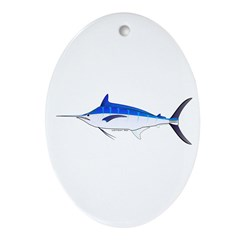 Blue Marlin fish Ornament (Oval)