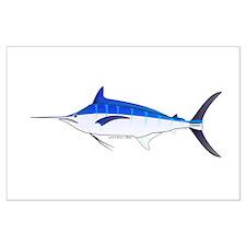 Blue Marlin fish Large Poster