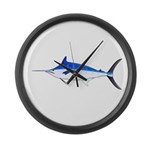 Blue Marlin fish Large Wall Clock