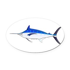 Blue Marlin fish Oval Car Magnet