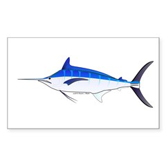Blue Marlin fish Sticker (Rectangle 50 pk)