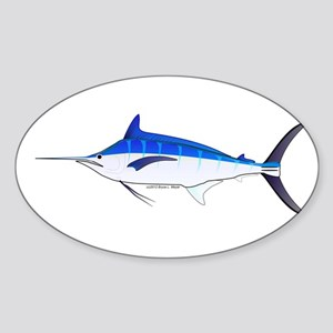 Blue Marlin fish Sticker (Oval)