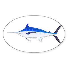 Blue Marlin fish Sticker (Oval)
