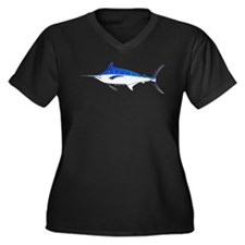 Blue Marlin fish Women's Plus Size V-Neck Dark T-S