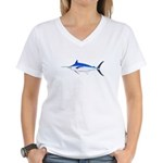 Blue Marlin fish Women's V-Neck T-Shirt