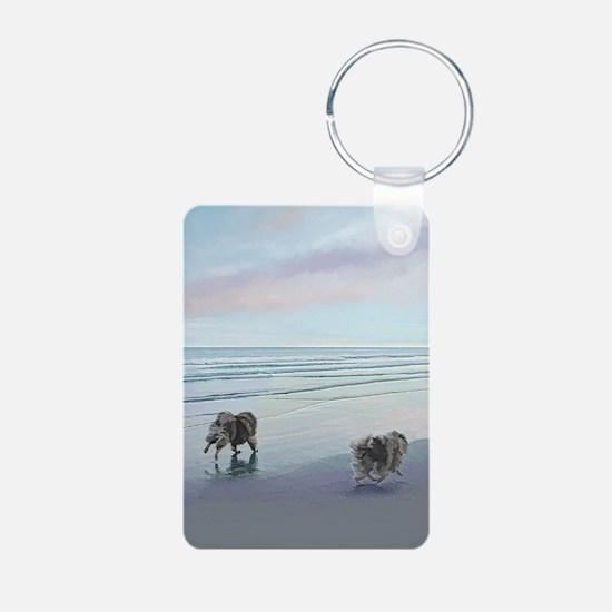Keeshonds at the Seashore Keychains