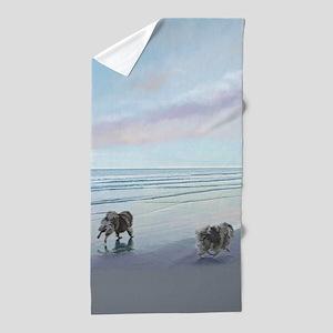 Keeshonds at the Seashore Beach Towel