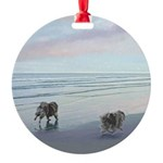 Keeshonds at the Seashore Round Ornament