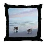 Keeshonds at the Seashore Throw Pillow