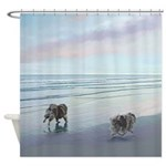 Keeshonds at the Seashore Shower Curtain