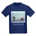 Keeshonds at the Seashore Kids Dark T-Shirt