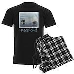 Keeshonds at the Seashore Men's Dark Pajamas