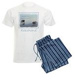 Keeshonds at the Seashore Men's Light Pajamas