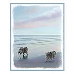 Keeshonds at the Seashore Small Poster