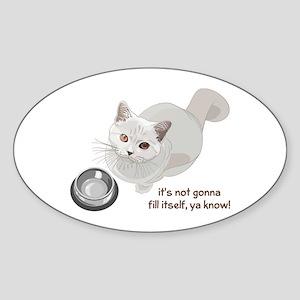 Feed Me Kitty Sticker (Oval)