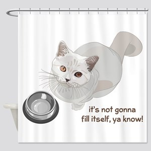 Feed Me Kitty Shower Curtain