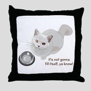 Feed Me Kitty Throw Pillow